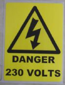 Danger 230V, Electrical Warning Labels